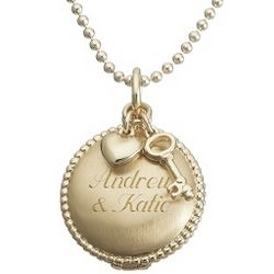 Artisan Gold Round Locket Necklace with Key and Heart Charms