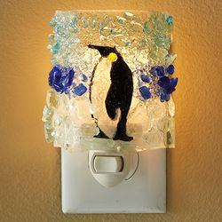 Recycled Bottle Glass Penguin Night Light