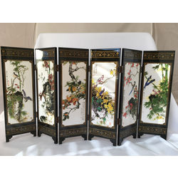 Feng Shui Tabletop Art Folding Screen with Birds and Flowers