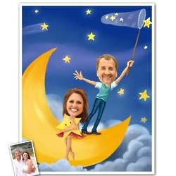 Moon and Stars Romance Caricature 8x10 Print from Photos