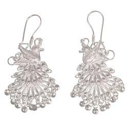 Royal Peacock Sterling Silver Chandelier Earrings