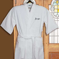Embroidered Name White Cotton Bath Robe