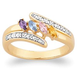 Marquise Birthstone and Diamond Accent Mother's Ring