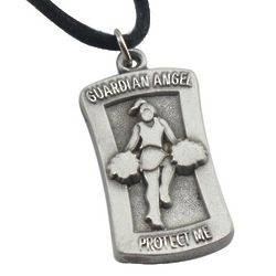 """Protect Me"" Engravable Cheerleader Pendant Necklace"