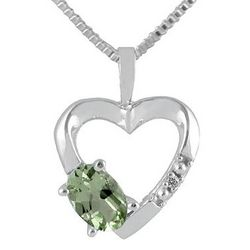 Green Amethyst and Diamond Heart Pendant
