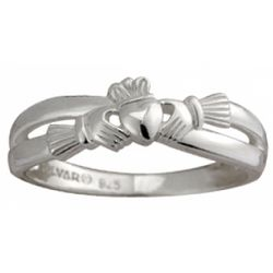 Sterling Silver Ladies Claddagh Kiss Ring