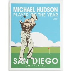 Personalized Retro Golf Art Canvas