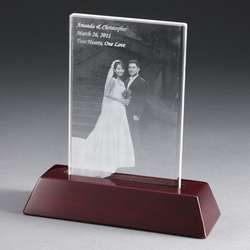 Portrait Flat Photo Crystal with Rosewood Base