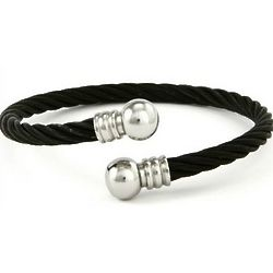 Designer Stainless Steel Black Cable Twist Unisex Bracelet