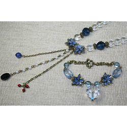 Blue Glass Necklace and Bracelet