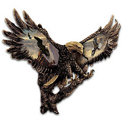 Cold-Cast Bronze Bald Eagle Wall Sculpture