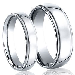 His and Hers Cobalt Wedding Band Set