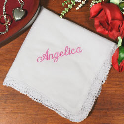 White Lace Embroidered Wedding Handkerchief