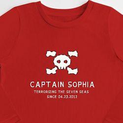Skull + Crossbones Captain Kid's Long Sleeve T-Shirt