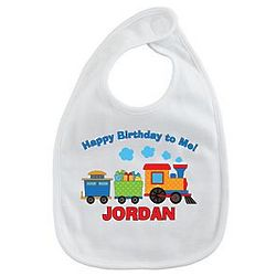 Personalized Colorful Train Birthday Bib