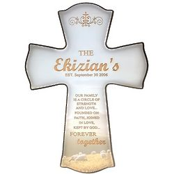Our Family Forever Together Personalized Cross