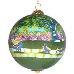 Boston Ducklings Handpainted Ball Ornament