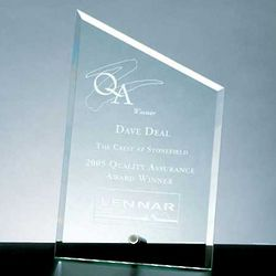 Beveled Sail Jade Glass Plaque Award with Aluminum Pole