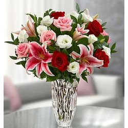 Marquis by Waterford Red Rose and Lily Bouquet