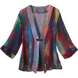 Women's Watercolor Art Silk Jacket