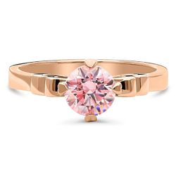 Rose Gold-Plated Solitaire Ring with Swarovski Zirconia