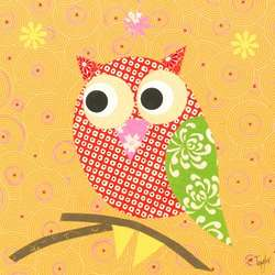 Mod Owl on Orange Wall Art