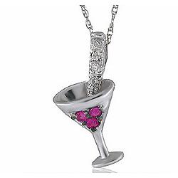 14K Diamond Pink Sapphire Cosmo Martini Necklace Pendant