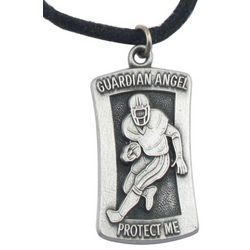 "Engraved Football ""Protect Me"" Pendant Necklace"