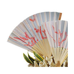 Bamboo Coral Print Wedding Fan