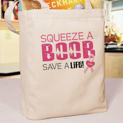 Squeeze a Boob Breast Cancer Tote Bag