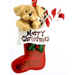 Personalized Puppy in Stocking Christmas Ornament