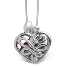 Small Mother's Heart Locket with Birthstones