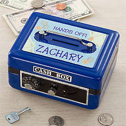 Blue Personalized Boy's Cash Box