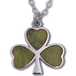 Sterling Silver Connemara Marble Shamrock Pendant