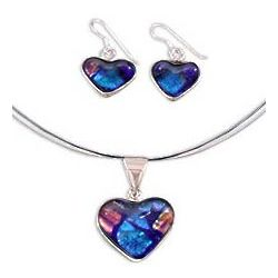 Hearts in Love Dichroic Art Glass Jewelry Set