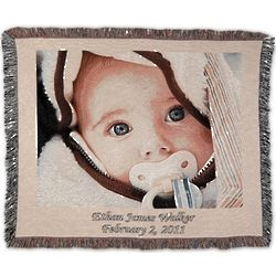Woven Image Photo Throw with Fringe Border in Landscape Format