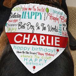 Personalized Happy Birthday Dog Bandana