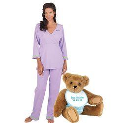 Baby Boy Teddy Bear & Oh-So-Soft Pindot Nursing Pajamas