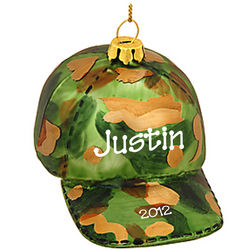 Hunting Camouflage Cap Glass Ornament