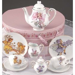 Porcelain Flower Fairy Tea Set with Custom Hatbox Container