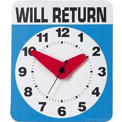 Will Return Gag Gift Wall Clock