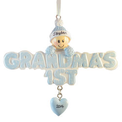 Grandma's 1st Baby Blue Cap Personalized Ornament