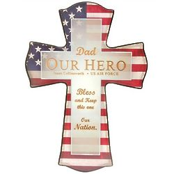 Dad Our Military Hero Personalized Cross