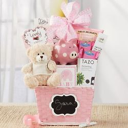 Oh Baby Gift Basket in Pink