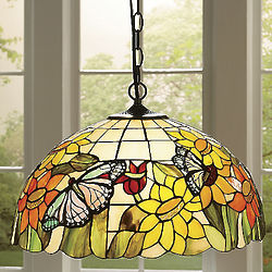 Stained Glass Sunflower and Butterfly Pendant Lamp