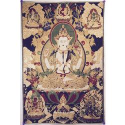Avalokiteshvara Buddha on Navy Blue and Gold Tapestry