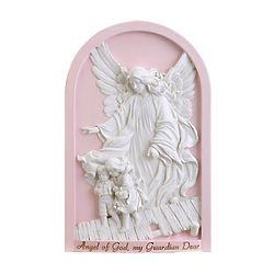 Angel of God, My Guardian Dear Plaque in Pink