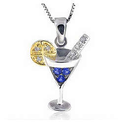 14K Diamond Sapphire Martini with Lemon Necklace Pendant Charm