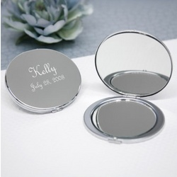 Kaylee Silver Round Bridesmaid Compact Mirror