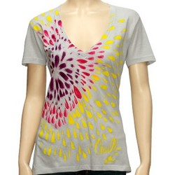 Flower Power Chalk Gray Juniors T-Shirt